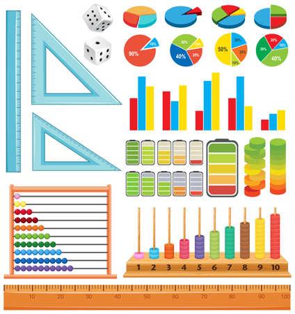 Set of math element illustration Illustration