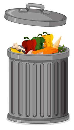 Isolated metallic trash can illustration