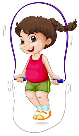 A girl jump the rope illustration