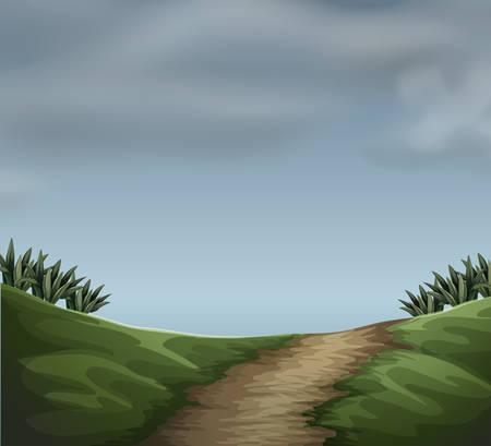 A cloudy natur scene illustration