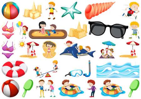 set of beach objects illustration