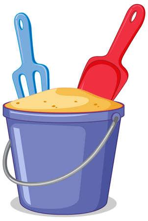 A sand bucket on white background illustration Ilustracje wektorowe