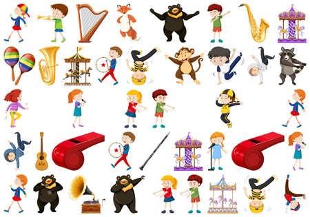Conjunto de ilustración de instrumento musical
