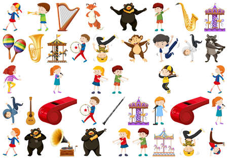 Set of music instrument illustration  イラスト・ベクター素材
