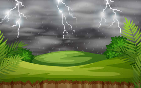 A thunderstorm nature scene illustration