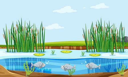 Fish pond nature scene illustration