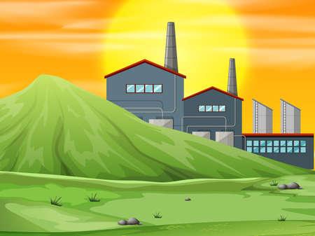 A factory in nature scene illustration 일러스트