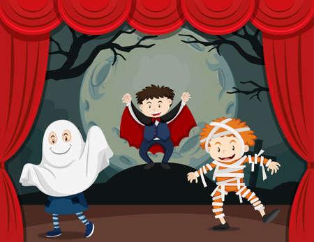 Niños en ilustración de espectáculo de terror Ilustración de vector
