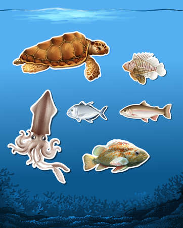 Set of different animals in ocean illustration