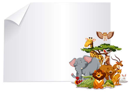 Group of animal paper frame illustration