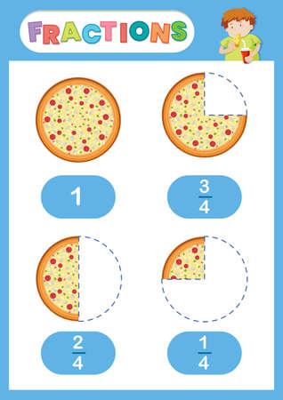 Ilustración de cartel de educación de pizza de fracciones Ilustración de vector