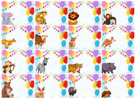 large set of animal invitations illustration 일러스트