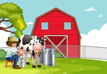 A farmer milking cow illustration Vectores