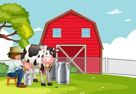 A farmer milking cow illustration Illustration