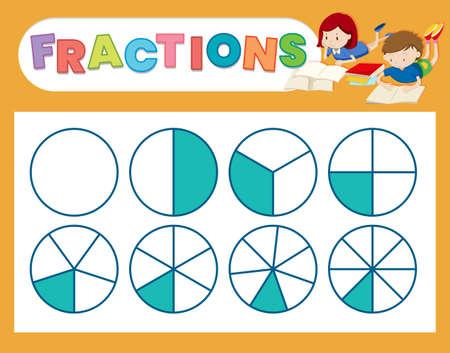 Una linda ilustración de hoja de cálculo de fracciones