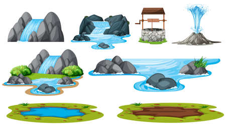 Set of isolated water element illustration Vettoriali