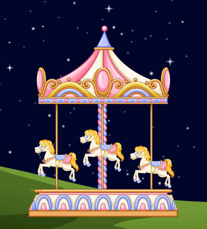 A carousel in the park at night illustration