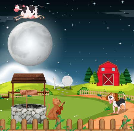 Rural scene at night illustration