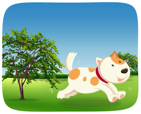 A dog runing in the park illustration