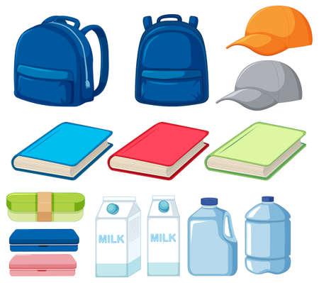 Set of many objects illustration