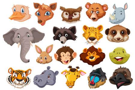 Set of wild animal head illustration