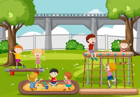 Children playing at the park illustration Illustration