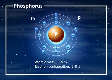 Illustration de concept de diagramme d'atome de phosphore Vecteurs