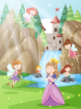 Una princesa en la tierra de la fantasía ilustración. Ilustración de vector