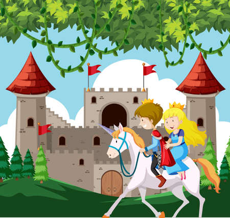 Prince and princess riding a horse illustration
