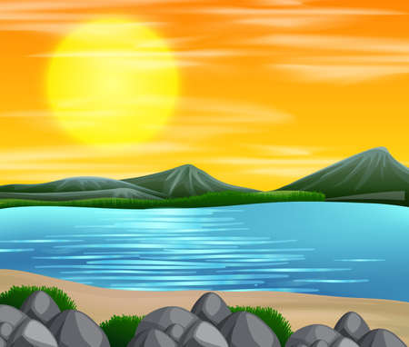 A beautiful beach sunset scene illustration