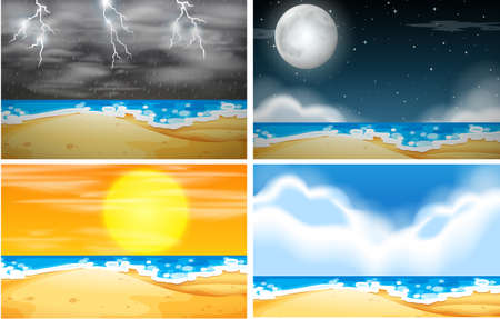 Set of beach background with different weather illustration