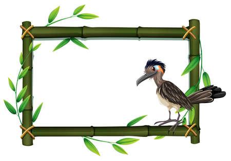 A roadrunner on bamboo frame illustration Vector Illustration