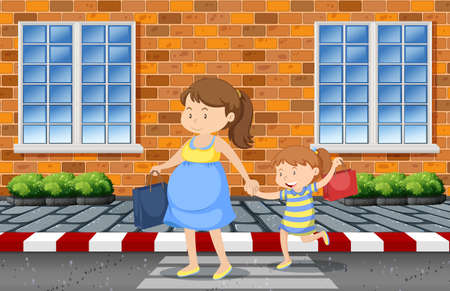 Mother and daughter crossing the road illustration