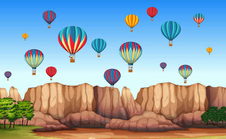 A beautiful cappadocia scene illustration