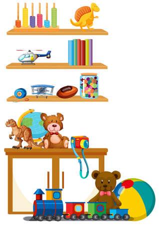 Jouet pour enfants sur l'illustration de l'étagère