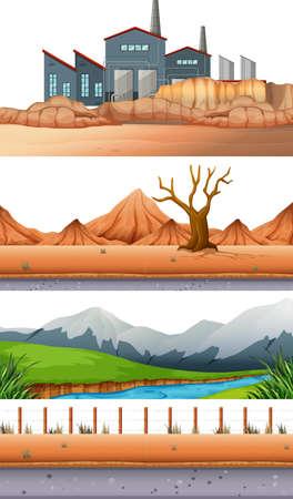 Set of different landscape illustration Illusztráció