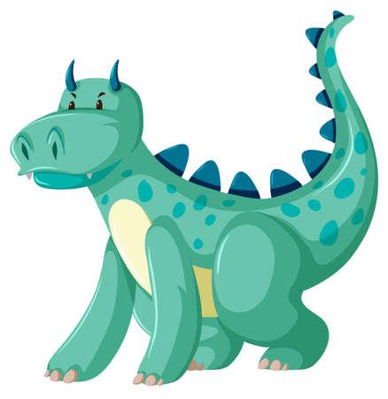 Una ilustración de personaje de dragón verde Ilustración de vector
