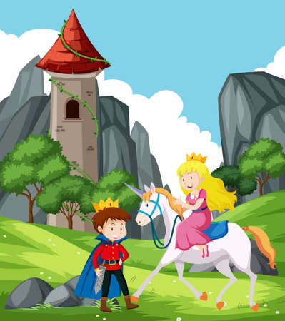 fantasy scene with prince and princess illustration