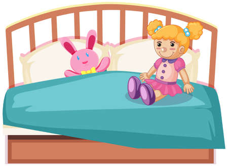 cute toys on bed illustration