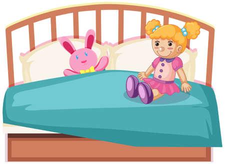 lindos juguetes en la cama ilustración