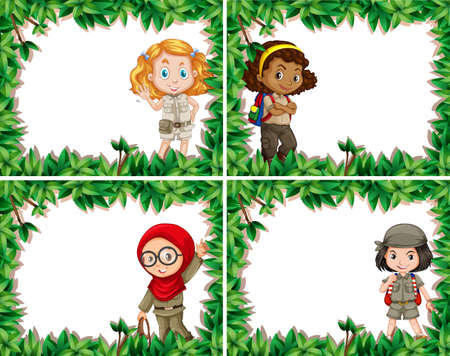 Girl Scouts In Card WIth Leaf Border illustration