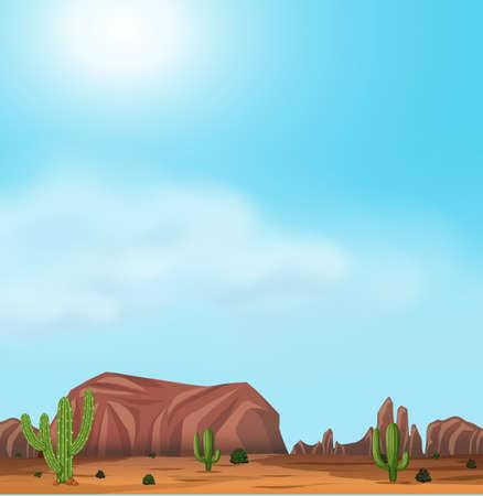 Uluru and Desert On Sunny Day illustration