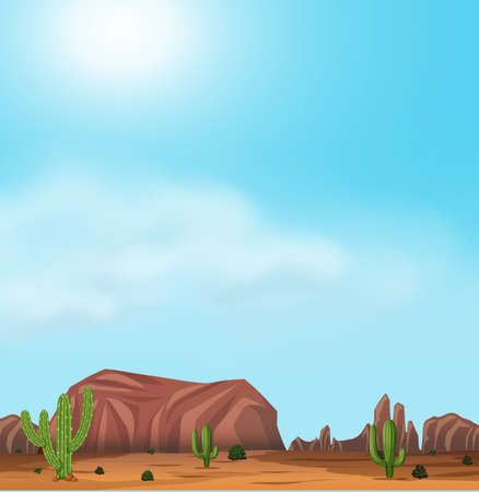 Uluru and Desert On Sunny Day illustration