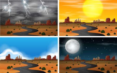 Illustrazione di diversi set di paesaggi del cielo