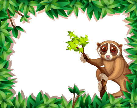 Lemur On Branch Card illustration Ilustrace