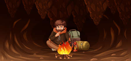 Man trapped in cave illustration