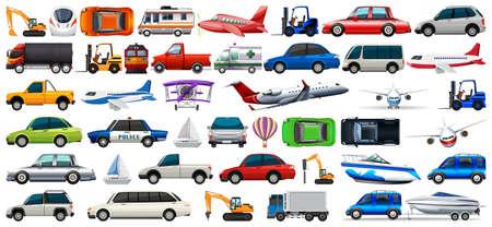 transport set of cars and trucks illustration Banque d'images - 119645907