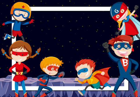 superheroes in outer space illustration