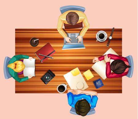 Group Project On Desk  illustration