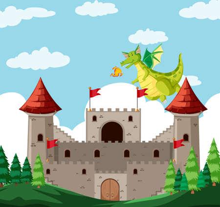 A fantasy dragon story illustration 向量圖像